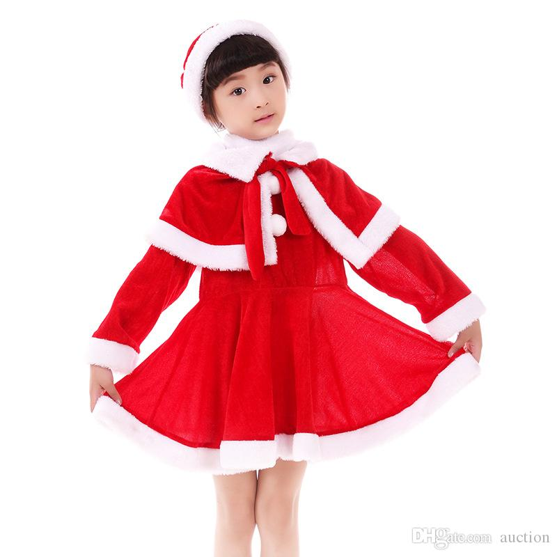 be207c345 2019 Wholesale Baby Girls Christmas Santa Claus Costume Dress With Shawl  Hat Xmas Outfits From Auction, $11.36 | DHgate.Com