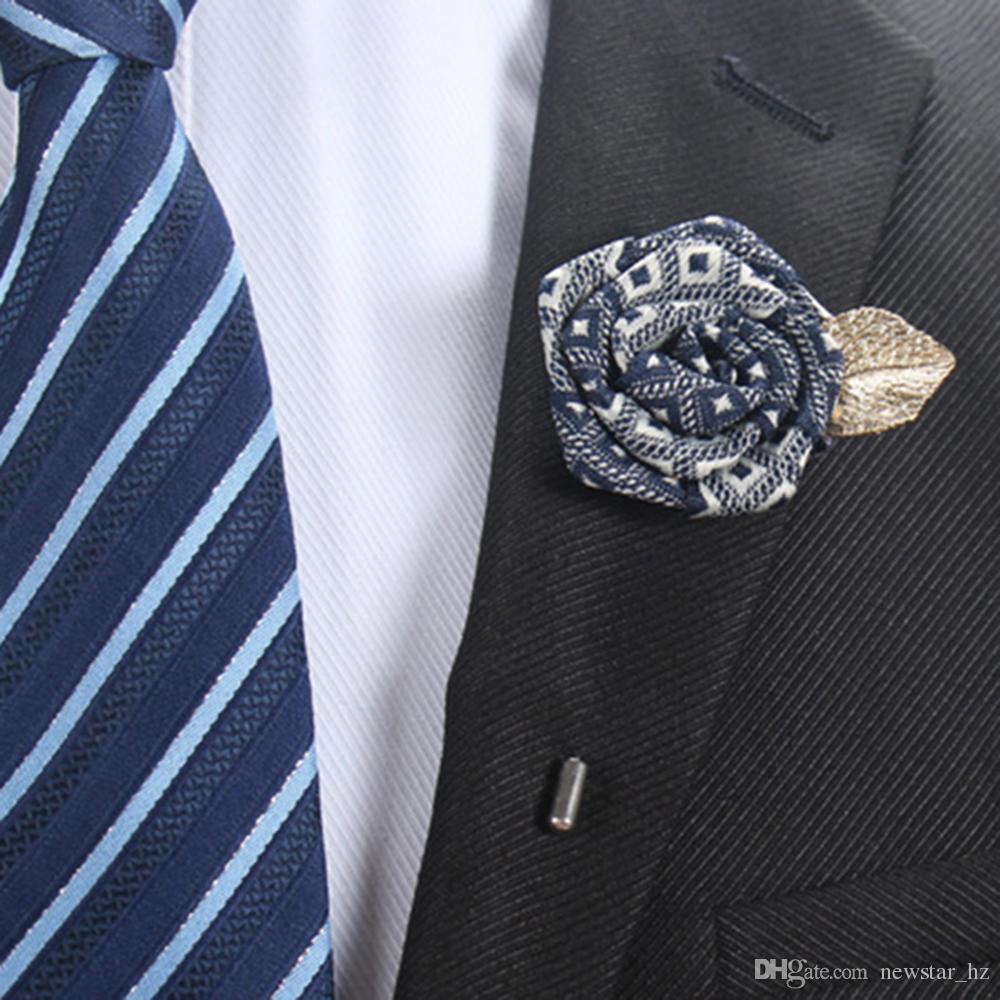 523c879e904 Handmade 14 Colors Women Men Boutonniere Stick Brooch Pin Tuxedo Decor  Corsage Wedding Party Unisex Lapel Rose Flower Suit Pins Brooches