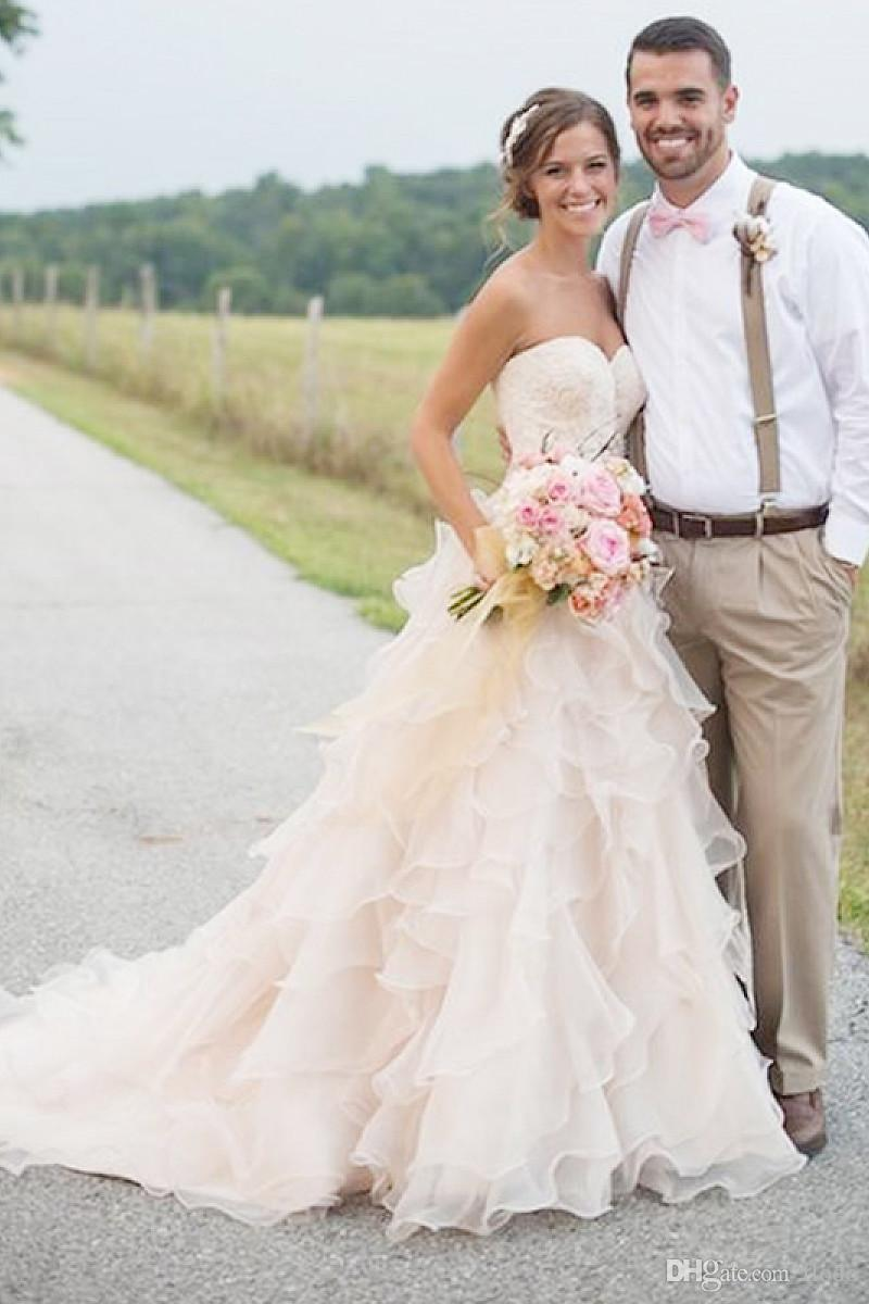Discount Sexy Blush Tiered Organza Country Style Wedding Dresses ...