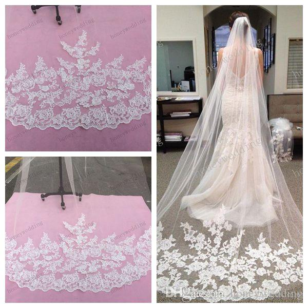 2015 Bridal Accessories Wedding Dresses Veils White Ivory Beautiful Cathedral Length Lace Edge Long Bride Veil New Cheap Accessory