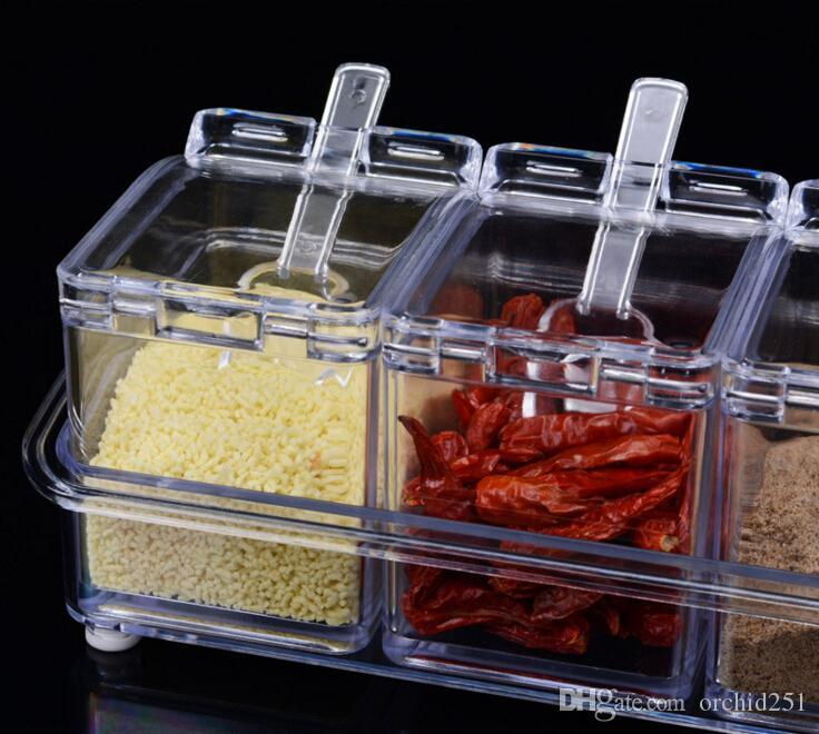 Crystal Seasoning Box Pepper Salt Spice Rack Plastic 4 Box with Spoons Kitchen See Through Storage Containers 2016 New Crystal Seasoning Box Kitchen ... & Crystal Seasoning Box Pepper Salt Spice Rack Plastic 4 Box with ...