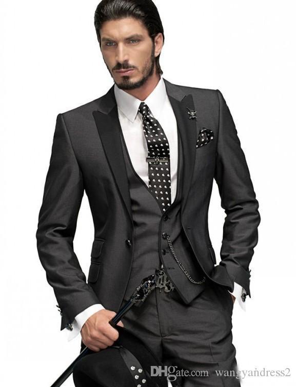 Venta caliente trajes de boda personalizados Charcoal Gray Groom Tuxedos guapo traje trajes formales El mejor hombre Groomsman trajes chaqueta + pantalones + chaleco