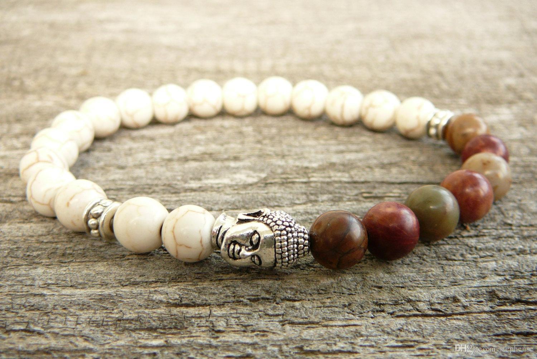 SN0233 Mode Witte Turquoise Armband Heren Stretch Mala Armband Howlite Picasso Boeddhism Yoga Pols Unisex Armband