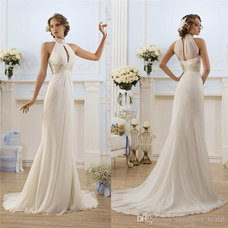 Greek style white wedding dresses 2015 high neck bead beach bridal see larger image junglespirit Gallery