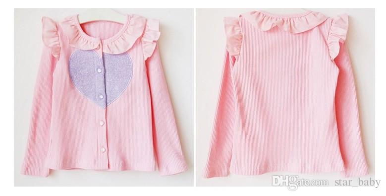 Cute Baby Girls Clothing Girl Cardigans Long Sleeved Love Rib Flouncing Jackets Solid Color High Quality Sweet Outwear Kids Clothes 9066