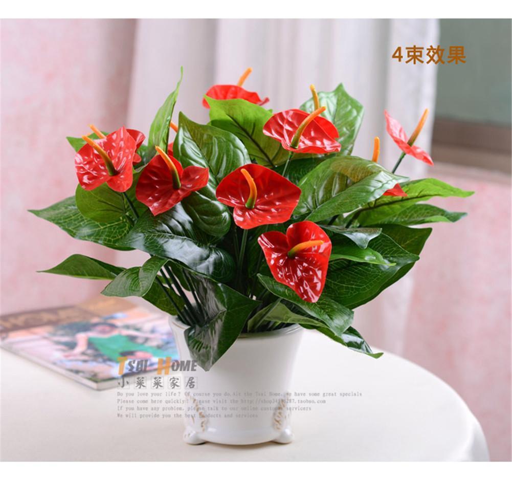 Best 2015 Wedding Bouquet 37cm Long Artificial Silk Flower Anthurium