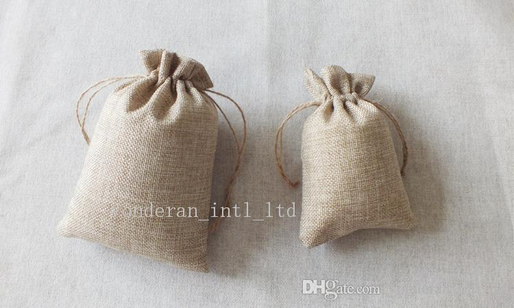 Double layer high quanlity Natural Linen drawstring bags Jewelry Pouch Jute bags burlap package bags Gift hessian Wedding favor
