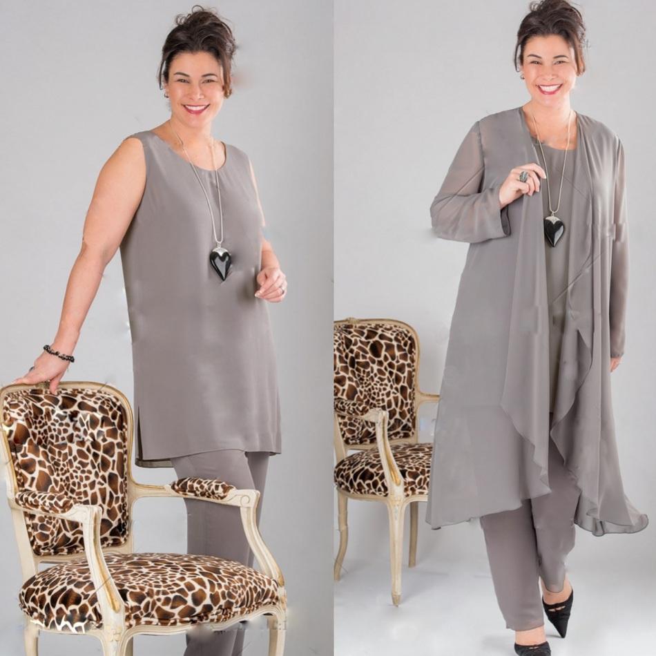 2019 nuevos elegantes trajes de madre de pantalón grises de manga larga trajes de talla grande con chaqueta vestidos formales hechos por el cliente a medida baratos