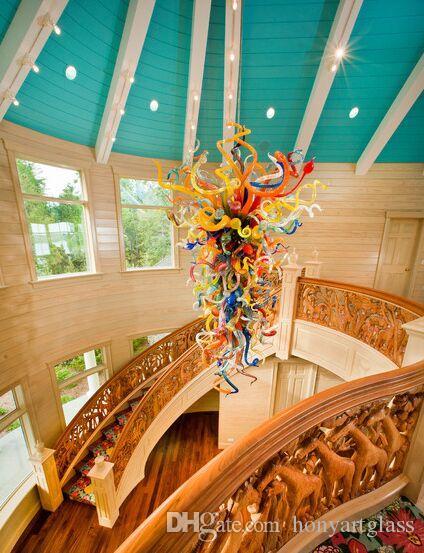 Grand Verre Art Décor tordu escalier suspendu long Lustre en verre de Murano multicolore moderne LED 100% Lustres en verre soufflé à la bouche Pendentif