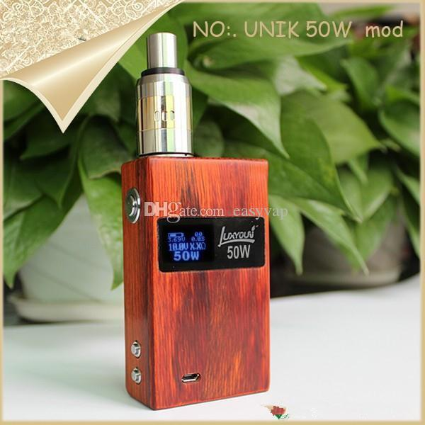 Top Quality Unik 50w boîte Modz pack LCD tension variable et puissance Unik 50 watts Cloupor T5 Vamo V5 E Cigarette