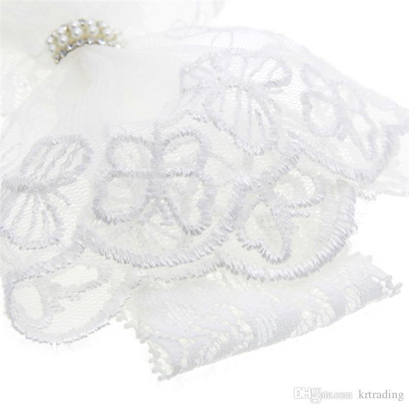 Baby Girls White lace bow headband Pure white lace acrylic pearls elastic hairband newborns headwear photo props