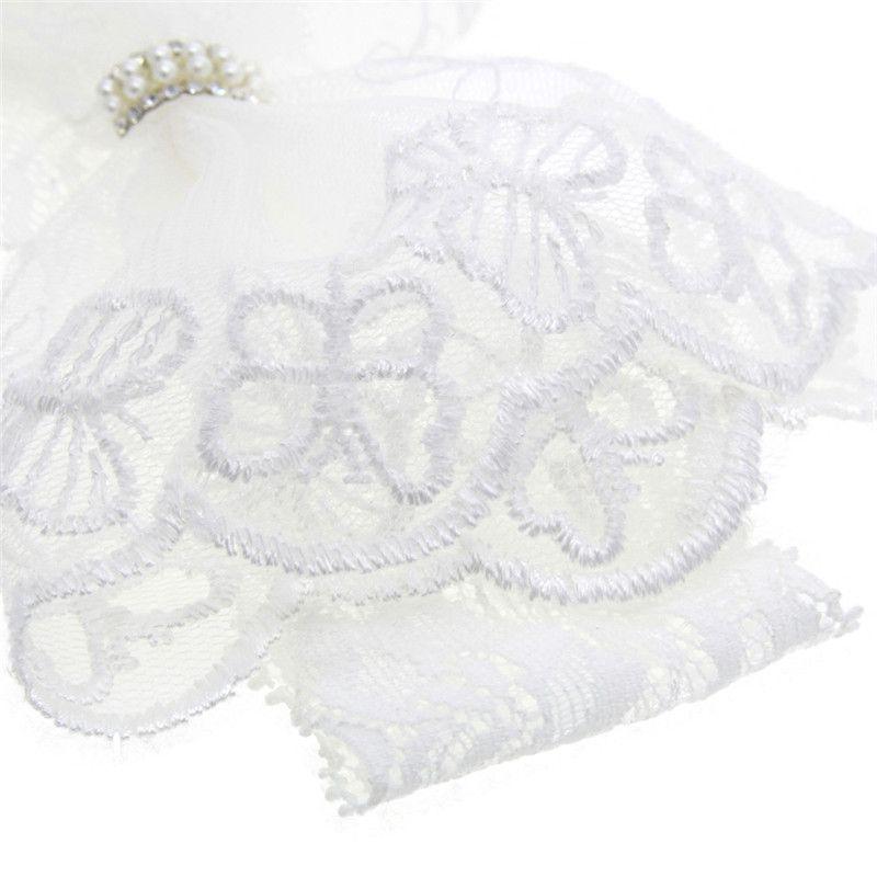 Baby Weiße Spitze Bogen Stirnband reine weiße Spitze Acryl Perlen Haargummi Neugeborene Kopfbedeckung Fotostützen
