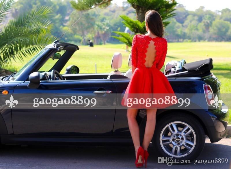 Nuovo arrivo 2019 Red Hot ritorno a casa veste Una linea gioiello Backless Capped 3/4 lunghe maniche corte pizzo applique signore smoking formale