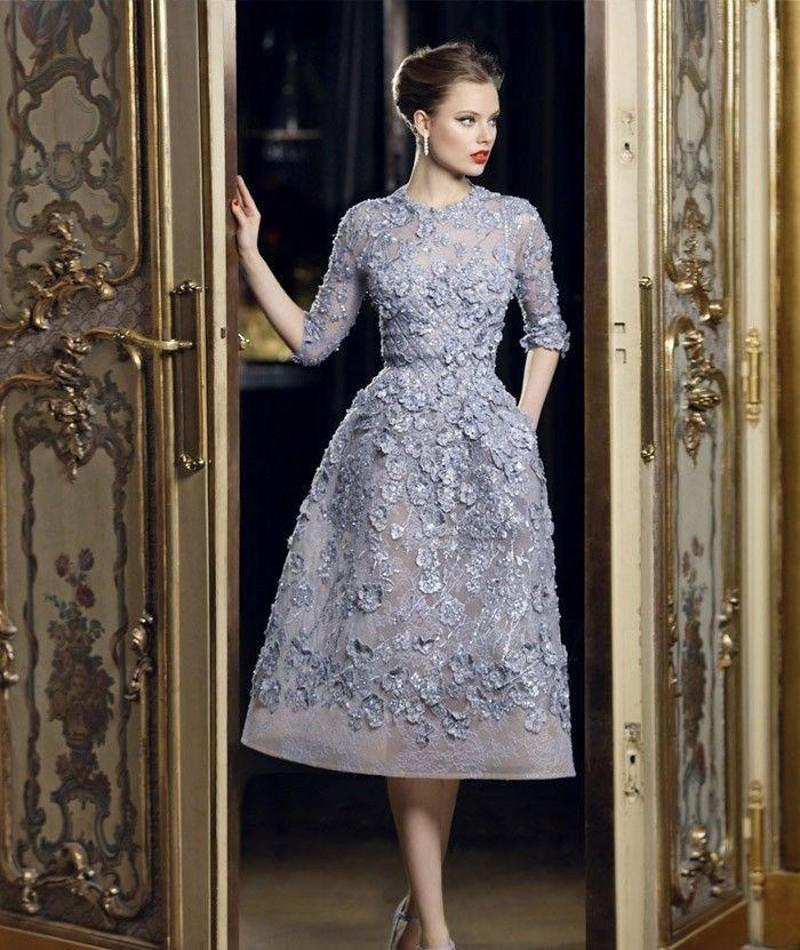 2018 Elie Saab Beautiful Applique Lace A-Line Formal Evening Dresses 3/4 Long Sleeve Tea Length Sexy Party Prom Dress Gowns Exquisite 191