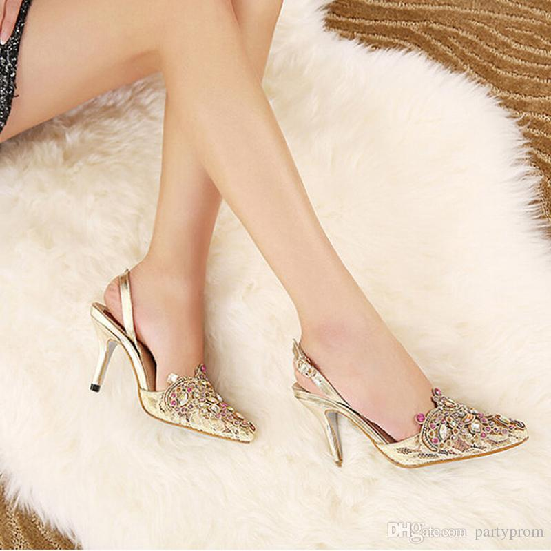 Gold Spring Summer Lace Pointed Toe Wedding Shoes Slingbacks Sandals Sexy Lady Single High Heels Women Party Prom Pumps