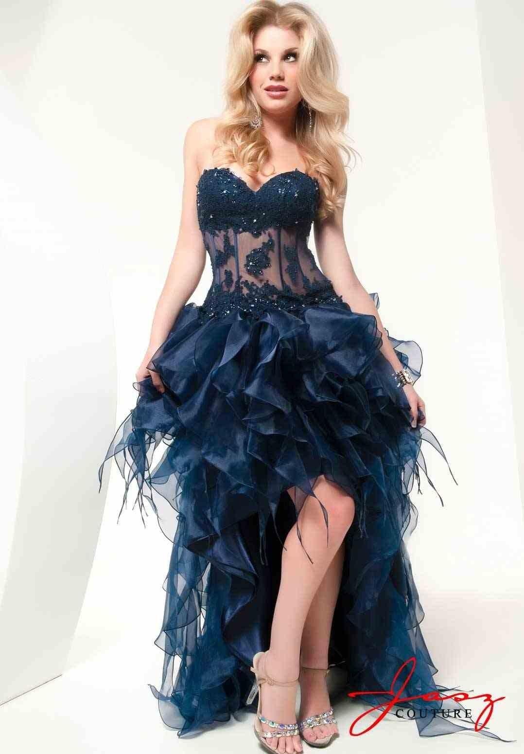 Großhandel Sexy Dark Blue High Low Rüschen Prom Dresses 2015 Schatz ...