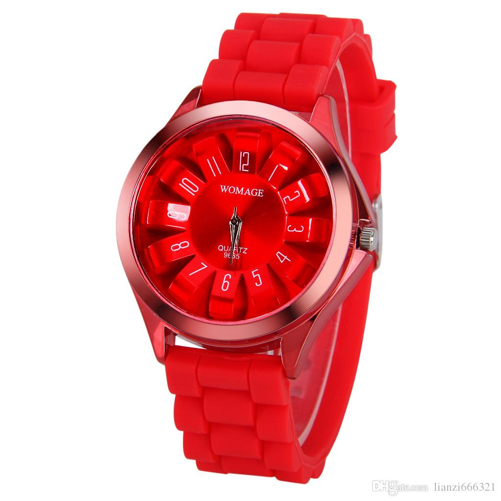 Textured Blocky Chrysanthemum Petal Face Watch China Brand WoMaGe Watches Women Men Silicone Jelly Wristwatches relogio feminino 1550