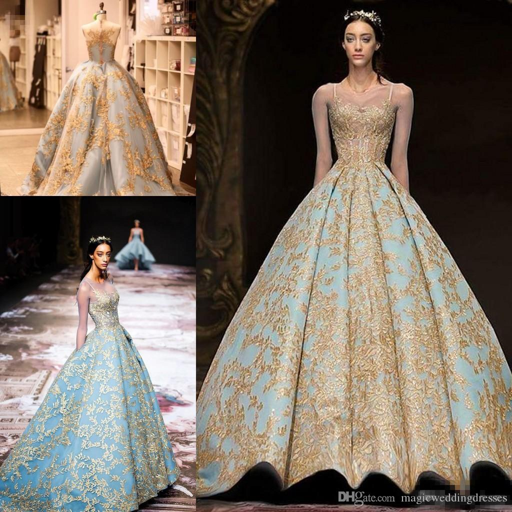 ac5a2d3b2392f Michael Cinco 2018 Gold Lace Ball Gown Prom Queen Dresses Modest Illusion Long  Sleeve Sky Blue Plus Size Dubai Arabic Evening Dress Prom Dress Websites ...