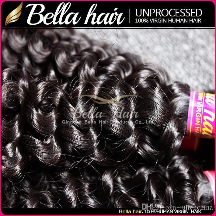 Yüksek Kaliteli Hint İnsan Saç Doğal Renk Kıvırcık Saç Demetleri 2 adet / grup 10-24 inç 8A Saç Uzantıları Ücretsiz Nakliye Bella Saç