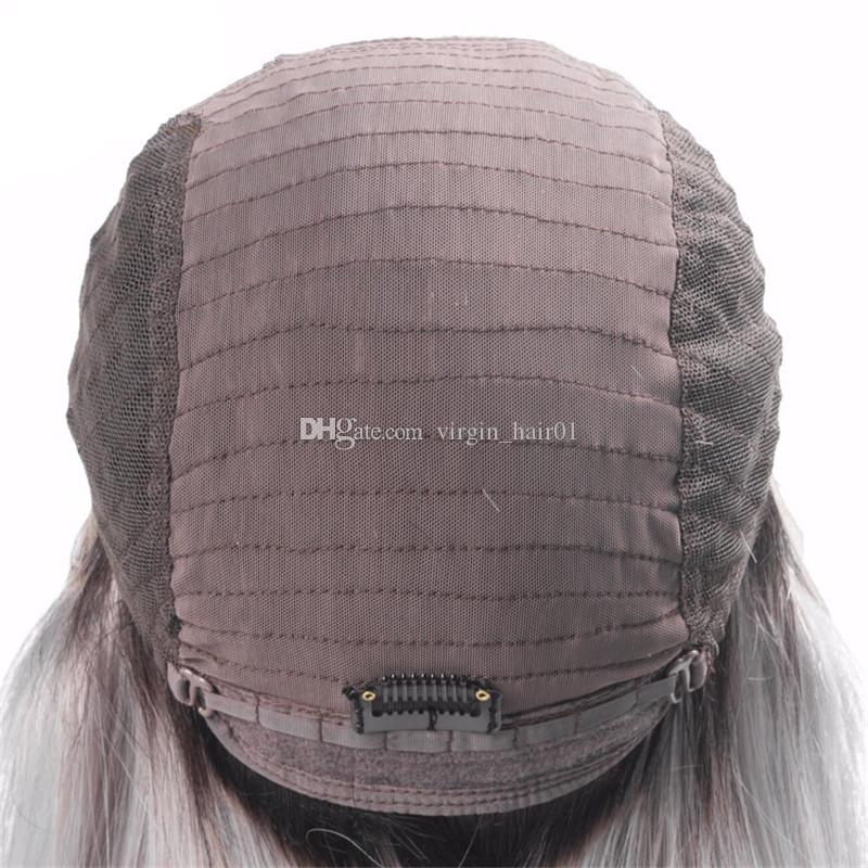 1b grey dark root Vrigin human hair ombre bob full lace wig and lace front wig 1b grey silky straight