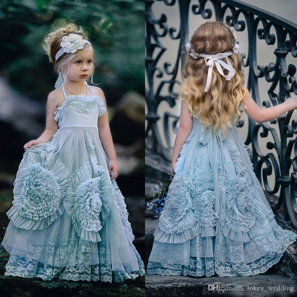 Halter Country Flower Girl Dresses For Wedding With Big Flowers ...