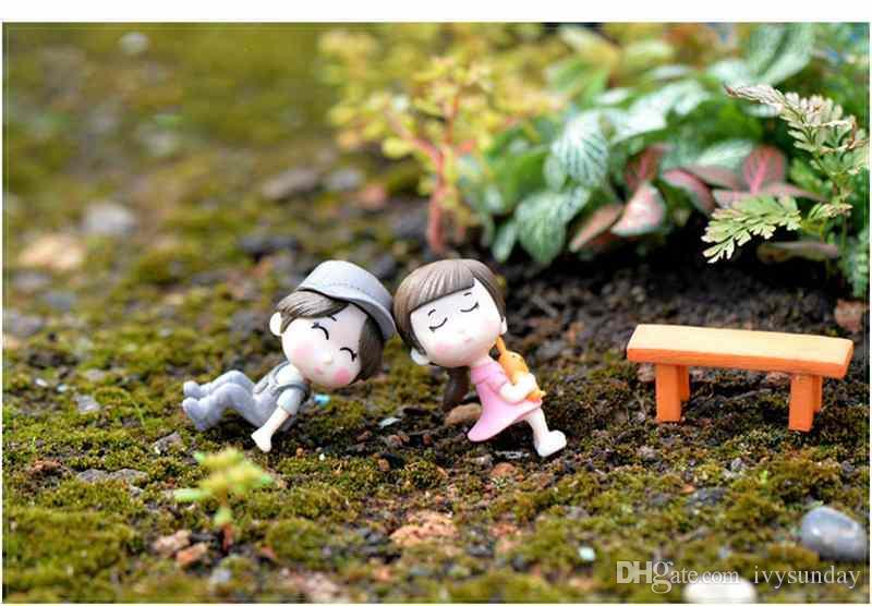 / Set Bench amantes Sweety Casal Figurines Miniatures Fairy Garden Gnome Moss Terrariums Handmade Artesanato Decoração Acessórios DIY Zakka