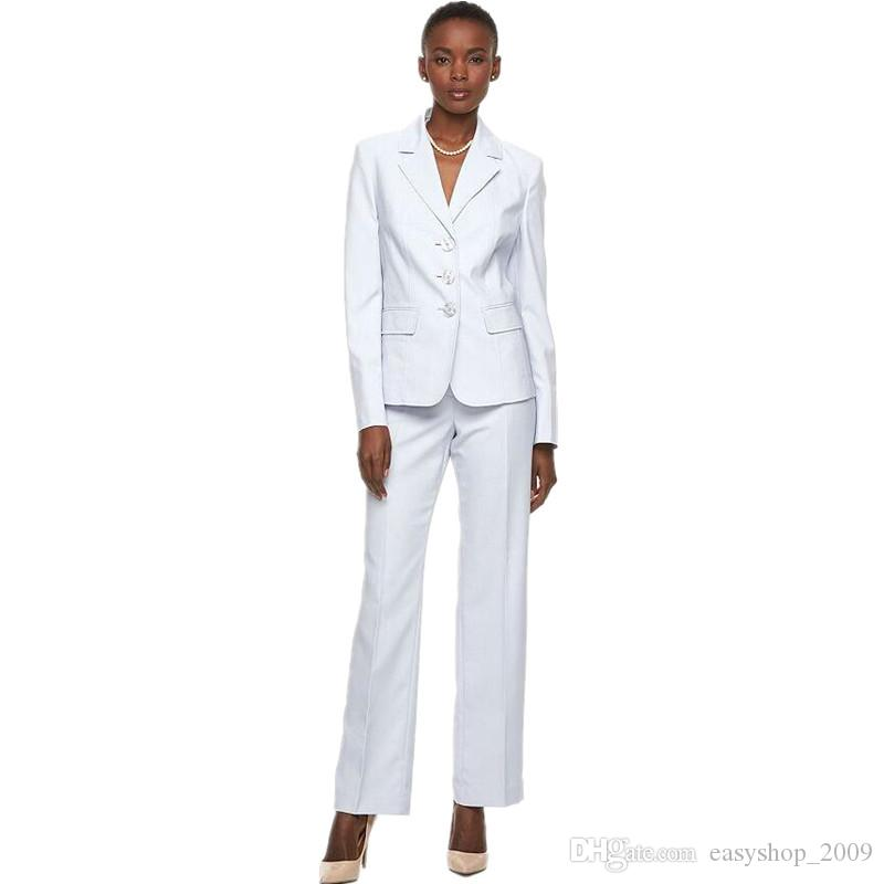 Slim Fit white color Women Tuxedos Peaked Lapel Suits For Women's Clothing Custom Made three Button Business Women Suits