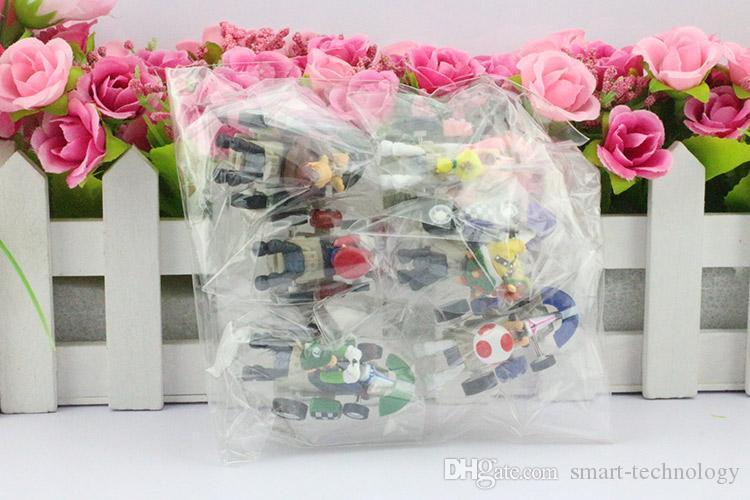 슈퍼 마리오 브라더스 카트 PULL BACK Car Figures 아동용 선물 세트 플라스틱 완구 6 개 세트 / 무료 배송