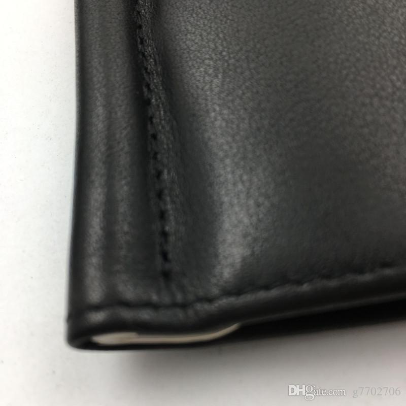 Classic Designer Wallet with Credit Card Holder Black Genuine Leather Money Clip Thin ID Card Case for Travel Man Metal Purse