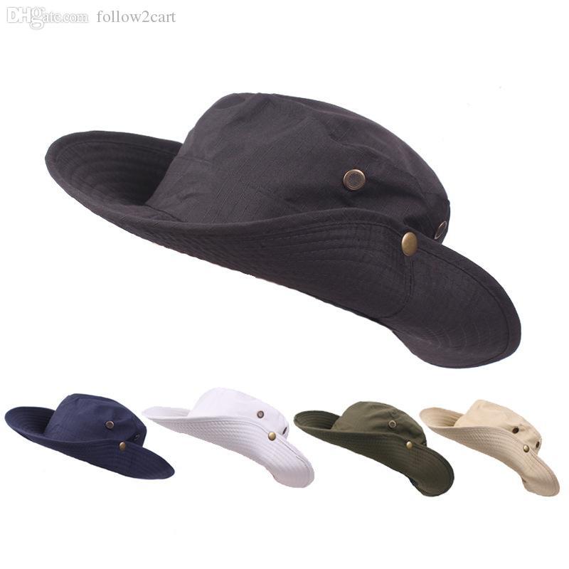 ca4e830652c Fisherman Wide Brim Fishing Hats Caps Outdoor Leisure Hiking Climbing Sun  Protection Women Men Sombrero Gorras Hats UK 2019 From Follow2cart