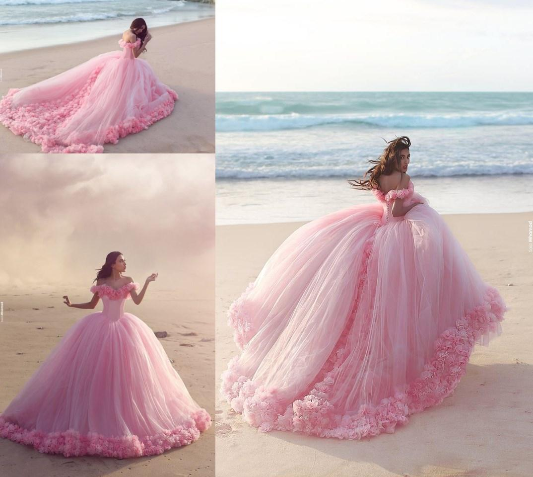 8d9b2cfa463 Puffy 2018 Pink Quinceanera Dresses Princess Cinderella Formal Long Ball  Gown Party Gowns With Long Court Train Off Shoulder 3D Flower Quinceanera  Dresses ...