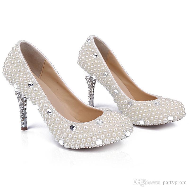 Zapatos simples de dama de honor de 3 pulgadas Zapatos de dama de honor de perlas blancas Zapatos de tacón alto de novia de novia Zapatos de tacón de aguja de fiesta de Stilettlo Celebración