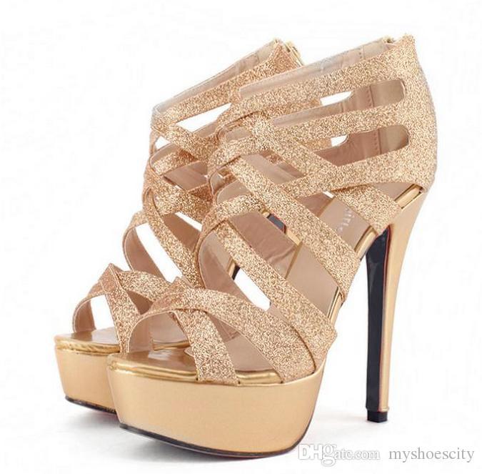 ad6516ccda99 Gold Gladiator Platform Heels - Ha Heel