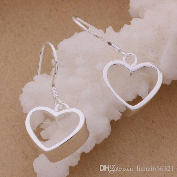 Fashion Jewelry Manufacturer a silver Heart earrings 925 sterling silver jewelry factory price Fashion Shine Earring Chandelier