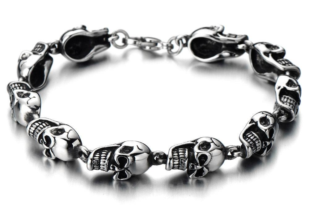 skull generic bracelet buy man stainless pattern steel fashion