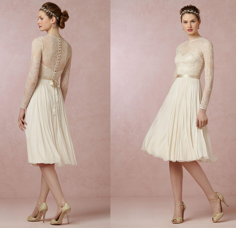 Short Sleeve Lace Wedding Dresses 2016 Chiffon Simple: Discount Cheap Lace Long Sleeve Short Wedding Dresses 2016