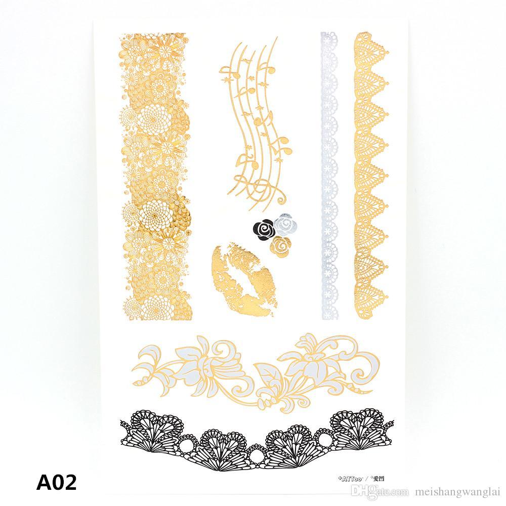 Metallic Tymczasowy Tatuaż Gold Folia Tatuaż Flash Tatuaże 20 sztuk Gold Tymczasowy Tatuaż Brokat Tatuaż Wodoodporna 7,9 * 5 cal