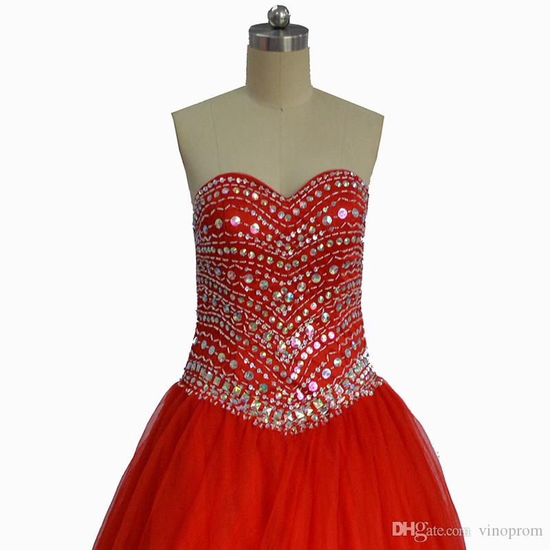 Vestidos De Cortos Para Coctel Ball Gown Sweetheart Tulle Red Beaded Abiti occasioni speciali Evening Formal Prom Gown 2018