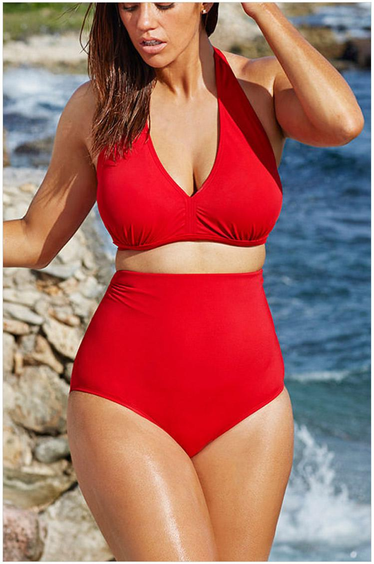 d0036716ff 2019 L XL XXL XXXL Plus Size Summer Red BIKINI SET HIGH WAIST Padding  Bathing Suits Sexy Slim Swimsuit Women Swimwear XSY41420R From  Whosalechina