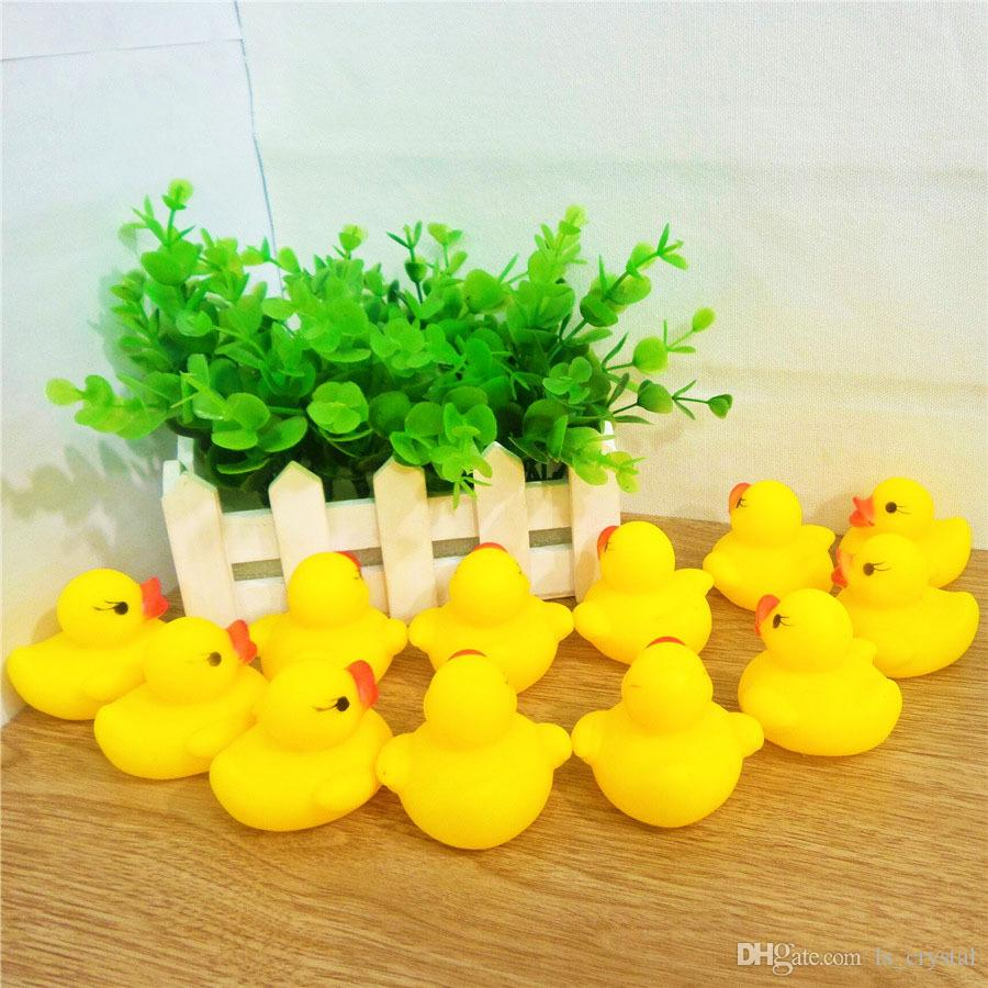 Yellow Duck Cartoon Rubber Dolls Baby Bath Water Beach Toys Safety Press Sounds Bathing Swiming Sand Play Water Fun Kids Toys