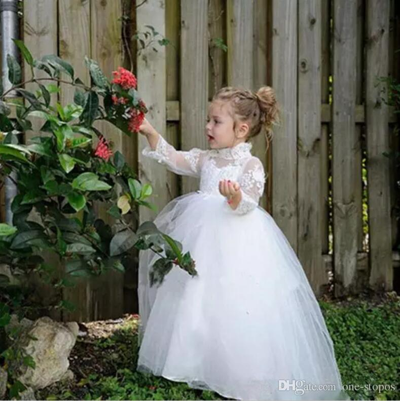 Vintage White Flower Girl Dresses for Weddings Lace High Neck Long Sleeves Baby First Communion Gowns Tulle Floor Length Toddler Pageant