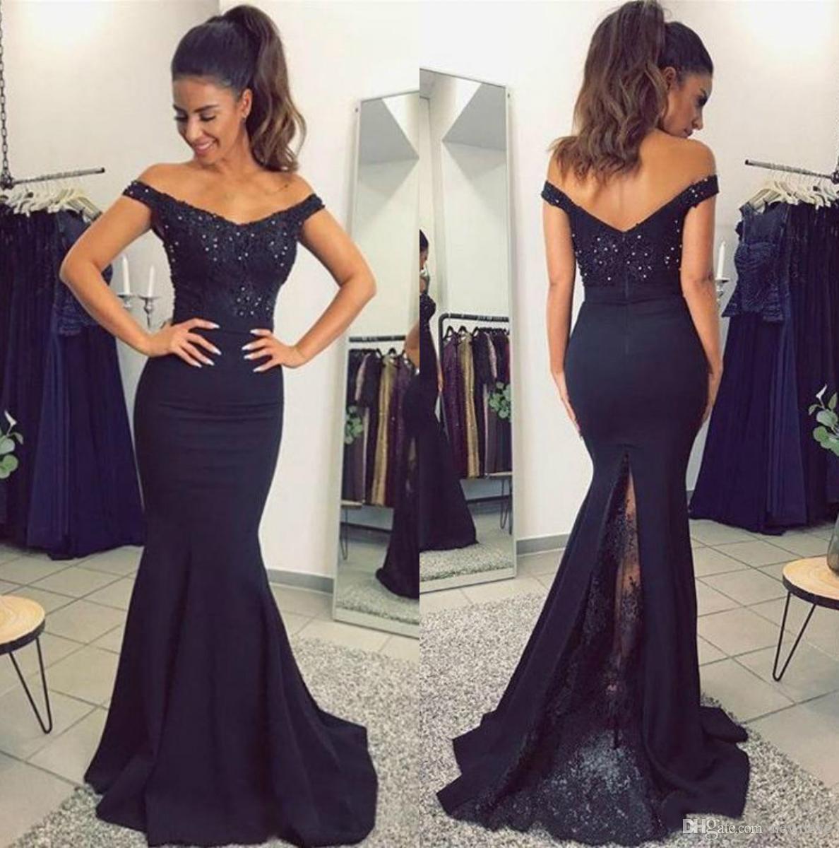 a40901b17c 2018 New Bead Mermaid Formal Dresses Black Long Prom Dress Sheath Off The  Shoulder Lace Evening Gowns Best Prom Dresses Blue Prom Dress From Newdeve,  ...
