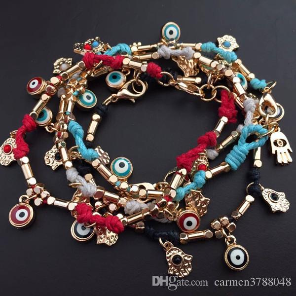 Evil Eye pulsera hecha a mano trenzada Turquía ojo azul hamsa charm pulseras joyería hecha a mano zinc alloy encerado cuerdas cuerda