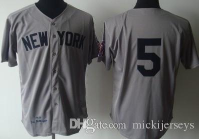 0885b62268 Compre Mens   5 Joe DiMaggio Baseball Jerseys Costurado 1948   5 Joe  DiMaggio Aposentadoria Patch Jersey M 3XL De Mickijerseys
