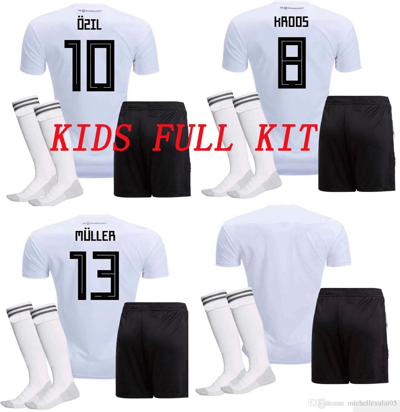 7fe2e2449 2019 18 19 Kids Soccer Uniforms MULLER OZIL GOTZE REUS KROOS Children Soccer  Full Kits Deutschland 2018 World Cup Boys Soccer Jersey Short Sock From ...