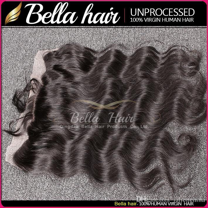 4 * 13 Boyat Edilebilir Dalgalı Vücut Dalga Kulak Kulak Dantel Frontal Kapatma Saç Parçaları Siyah Renk Brezilyalı İnsan Hairbella