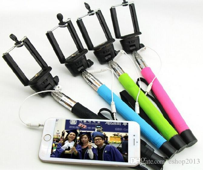 z07-5s Audio cable wired Selfie Stick Extendable Handheld Monopod plug and play Cable Take Pole Wired for iPhone 6 PLUS Samsung note 4
