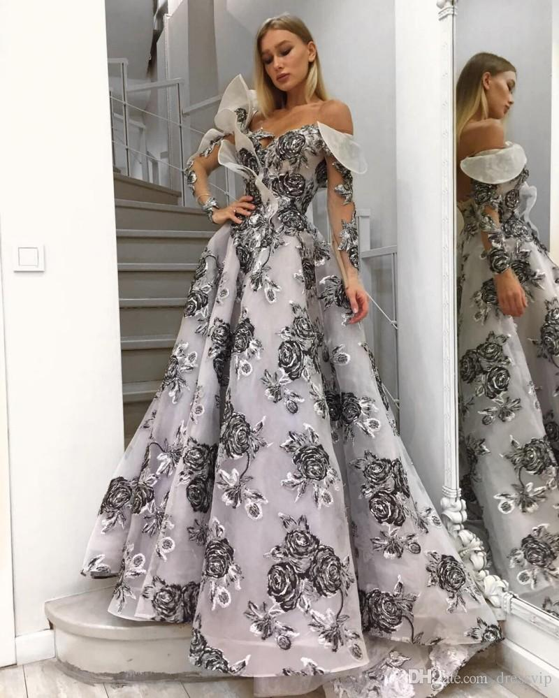 Off The Shoulder Long Sleeve Prom Dresses Black And White Sexy ...
