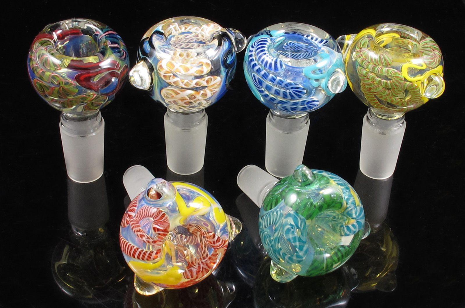 14mm, 19 mm de adentro hacia afuera del tazón de vidrio Colores mezclados para fumar tobogán para tubo de agua de bong