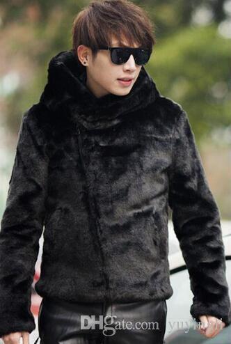 da5a6b01d2b9 2019 Black Hooded Warm Faux Fur Coat Mens Leather Jacket Men Coats ...